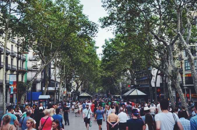 city people street trees